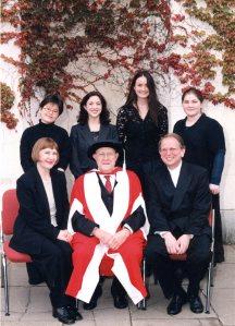 Back row: Yoosha Kim, Laura Moody, Miranda Wilson, Rachel Johnston; front row: Natalia Pavlutskaya, Mstislav Rostropovich, Alexander Ivashkin