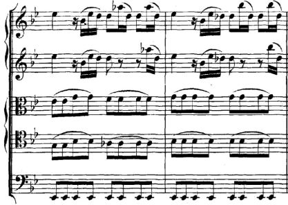 "Image of measures 4 and 5 from J. S. Bach, ""Actus Tragicus"" BWV 4, I. Sonatina."