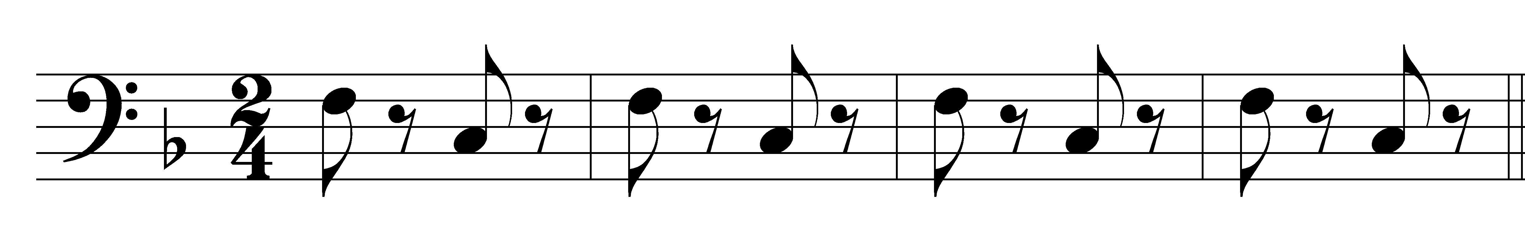 "Image of bassline from ""Toreador Song"" in Bizet's Carmen."