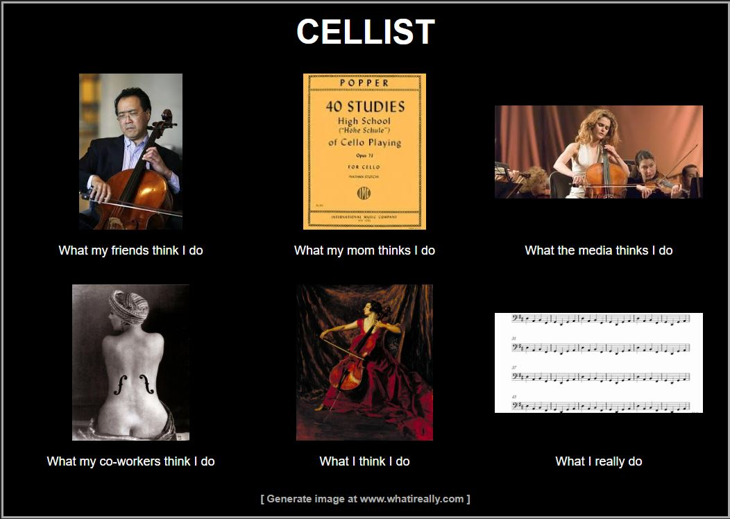 "Internet meme ""What I Really Do."" Title: Cellist. What my friends think I do: image of Yo Yo Ma. What my mom thinks I do: image of Popper's High School of Cello Playing. What the media thinks I do: movie still from August Rush. What my co-workers think I do: image of Man Ray's ""Ingre's Violin."" What I think I do: image of Augustus John's ""Madame Suggia."" What I really do: image of cello part from Pachelbel's Canon."